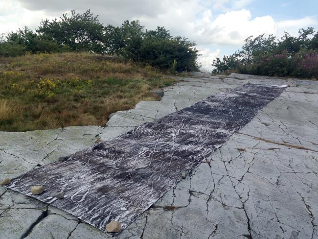 drawing in progress: frottage of rock carvings at a site close to Järrestad, Sweden