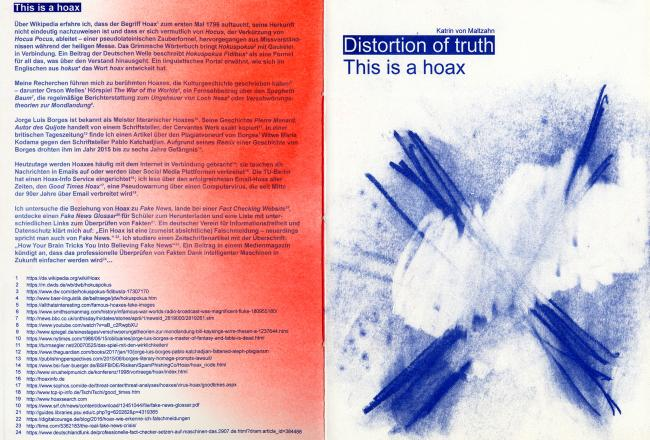 Distortion of truth: This is a hoax / front & back cover